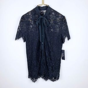 Lulus New Lace Tie Neck Pussybow Blouse